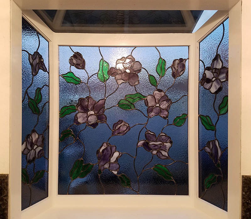 Satined Glass Flowers Kitchen Bay Window