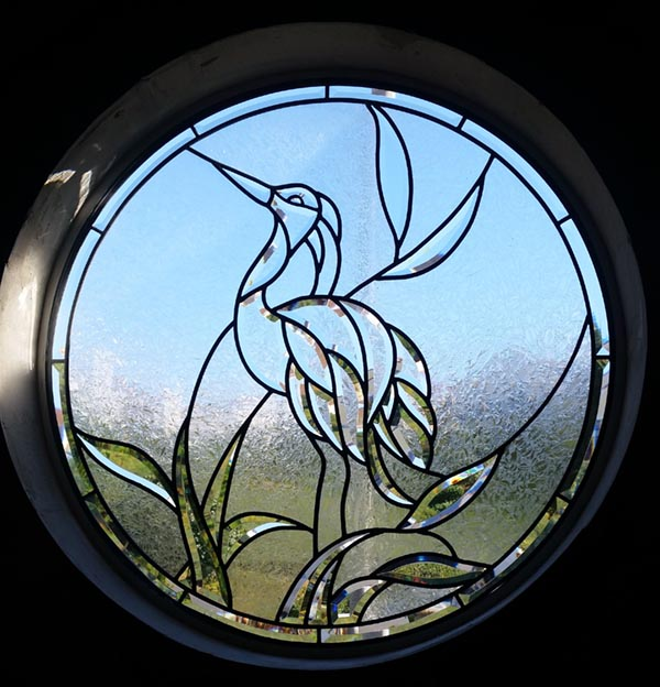 Beveled leaded glass Heron Bird